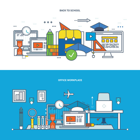 programm: Concept of illustration - teamwork, office workplace, modern education and learning, collaboration, research and information technology. Vector design for website, banner and mobile app.