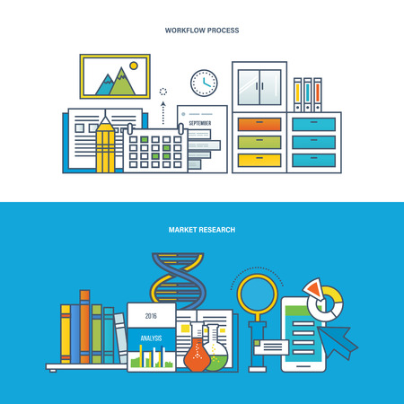 printed work: Concept of illustration - work, workplace and workflow, finance, marketing, research and analysis, strategy and business planning. Vector design for website, banner, printed materials and mobile app.