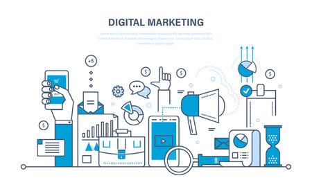 Conceptenillustratie - digitale marketing, media planning, online zaken en het kopen, financiële analyse en statistieken. Dunne lijn ontwerp van vector doodles, infographics elementen.