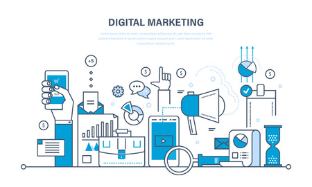 Concept illustration - digital marketing, media planning, online business and purchasing, financial analysis and statistics. Illustration thin line design of vector doodles, infographics elements.