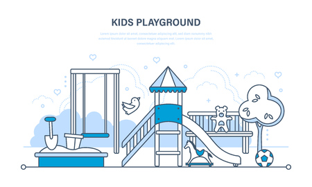 kids playground: Childrens entertainment playground, with a slide, benches, a sandbox, a swing and a recreation park. Kids playground. Illustration thin line design of vector doodles, infographics elements.
