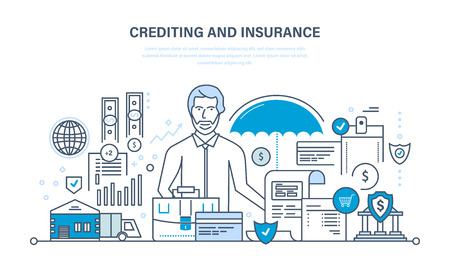 commercial activity: Concept - crediting and property insurance, financial security, commercial activity, finance, business, technology. Illustration thin line design of vector doodles, infographics elements. Illustration