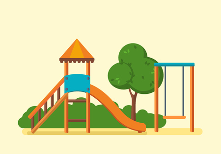 Concept illustration - kids playground, entertainment in the form of horizontal bars and swings, walking park. Vector illustration. Can be used as banners, commercial materials. Vettoriali