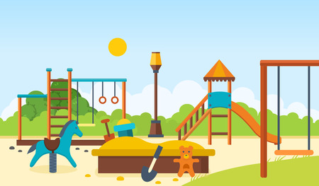 kids toys: Kids playground, horizontal bars and swings, walking park, childrens toys.
