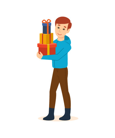 The guy in the store bought festive Christmas presents Stock Photo