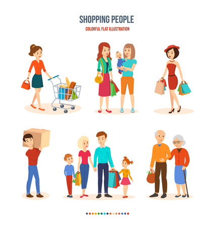 Vector children: Shopping people. Joint purchases, family walks