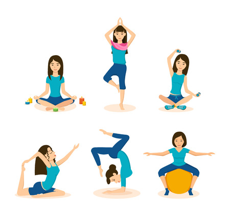 yoga meditation: Girls do yoga, meditation and fitness in different positions.