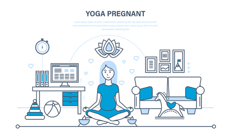 Pregnant woman in a lotus position rests and restores strength.