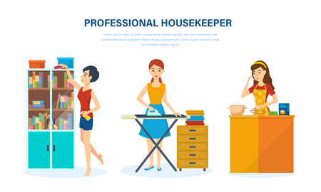 Professional housewife, in living room, kitchen, bedroom, engaged home affairs.