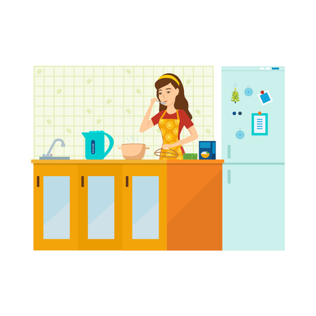 Woman housewife is engaged in preparing a meal in kitchen. Illustration