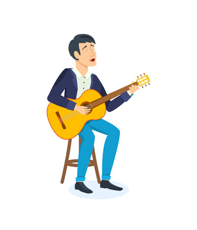 Young man celebrating birthday emotionally sings songs with a guitar. Illustration