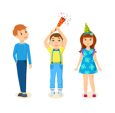 Children together celebrating the birthday by exploding firecrackers. Illustration