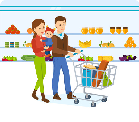 mujer en el supermercado: Family walking around the store and takes fresh food