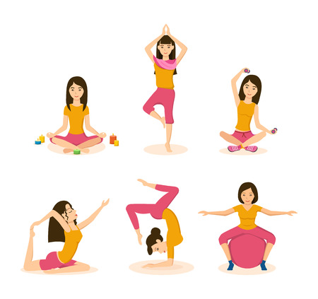 Girls do yoga, meditation and fitness in different positions.