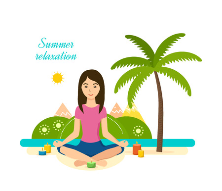 yoga meditation: Tropical summer girl is engaged in yoga and meditation.