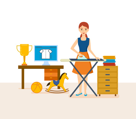Young housewife engaged in household chores, cleaned, strokes things. Illustration