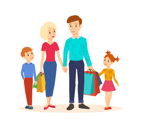 young family: Young family goes along with joint purchases at the mall.