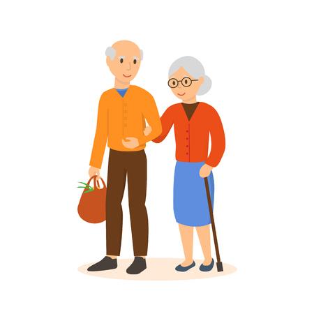 高齢者はお店で腕の下で行きます。  イラスト・ベクター素材