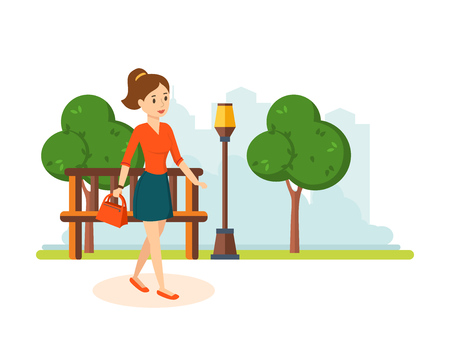 Girl in skirt and blouse, walks in the park resting.
