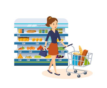 La muchacha marca los productos, hace una compra en el almacén de la tienda de comestibles. Ilustración de vector