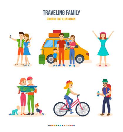 familia que viaja, viajes conjuntos, excursión en bicicleta, viaje, excursión con los niños