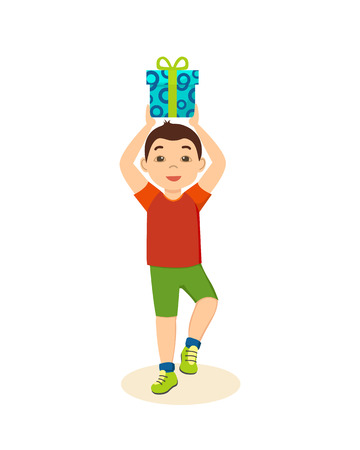 party poppers: boy in  festive mood cheerful holding  gift. Illustration