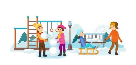 ice slide: Children play in the playground, sledding, making snowmen, smiling.
