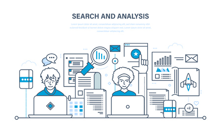 information analysis: Search and analysis of information, marketing, research, statistics  analytics. Stock Photo