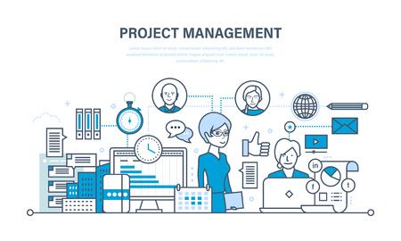Projectbeheer, organisatie van het werkproces en tijd, teamwork. Vector Illustratie