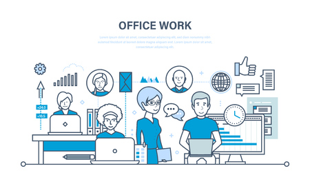 business meeting computer: Office workplace, performance evaluation, analysis of results, planning, control, teamwork. Illustration