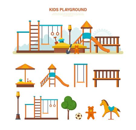 Parque infantil de entretenimiento para niños, bancos, sandbox, swing, parque de recreación.