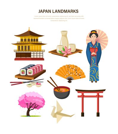 comida japonesa: Japan landmarks - building, beverages, clothing, food, art, trees.