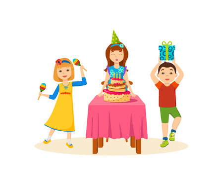 Children having fun in a festive evening at birthday party. Illustration