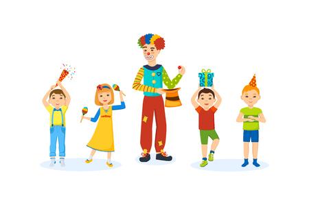 Les enfants ont du plaisir avec une maison clown animateur dans la chambre.