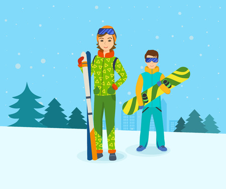 Man with snowboard and girl  skis, standing on mountain.