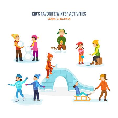 Kids favorite winter activities. Snowman, fireworks, fishing, skating, slide, sled. Illustration