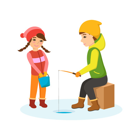 child laughing: Boy and girl in warm clothes on the winter fishing.