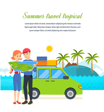 exotic car: Summer travel - family trip to warm country in his car. Illustration