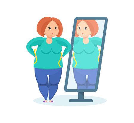 Full girl regarde dans le miroir, voulant perdre du poids.