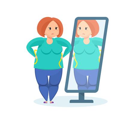 Volledige meisje kijkt in de spiegel, de wil om gewicht te verliezen.