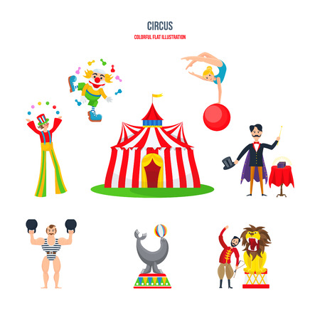 Circus concept - performances, clowns, jugglers, strongman, acrobats, magician, animal trainer. Illustration
