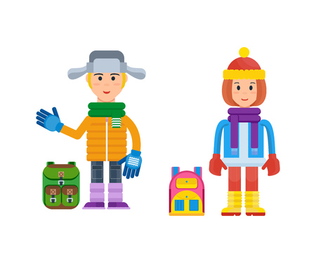 winter clothing: Boy and girl in winter clothing prepared for cold weather. Illustration