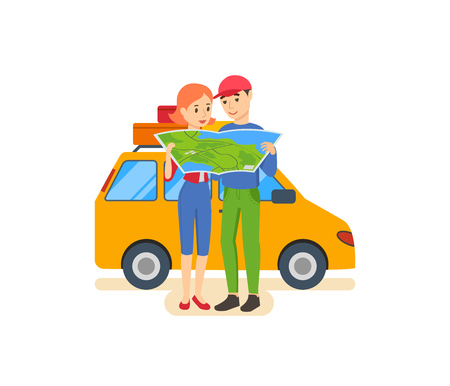 family: Summer travel - family trip to warm country in his car. Illustration