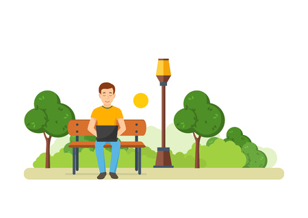 laptop outside: The guy running remotely on a freelance in the park.