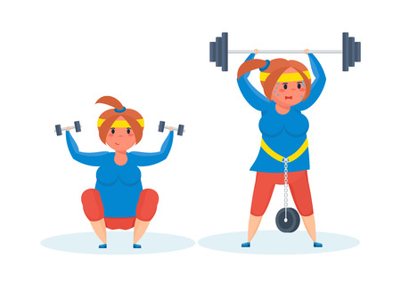 sports girl: Full girl engaged in sports exercises with dumbbells and barbell.