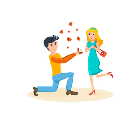 beloved: Man makes proposal to his beloved, girl delighted with surprise. Illustration