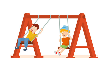 thrill: Guys having fun and ride on swing, an amusement park. Illustration