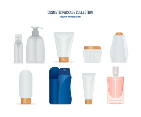 colection: Concept of cosmetic and toiletry kits for men and women.