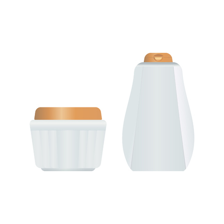 Cosmetic plastic bottle and carton for creams, lotions, gels. Ilustração