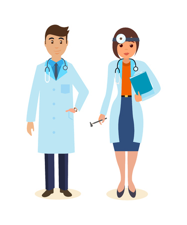 mature men: Doctor surgeon in gown, ENT with tools and research results. Illustration